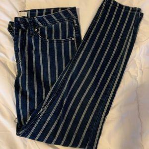 White Pin Stripe Skinny Jeans